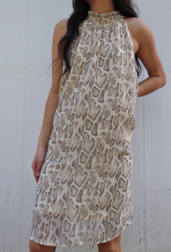 Snakeprint Smocked Neck Dress