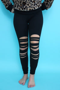 Last Call Lamesa Laser Cut Leggings [Black]