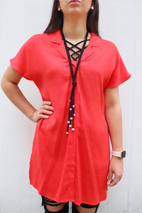 Button Down Tie Front Tunic Top [Tomato]