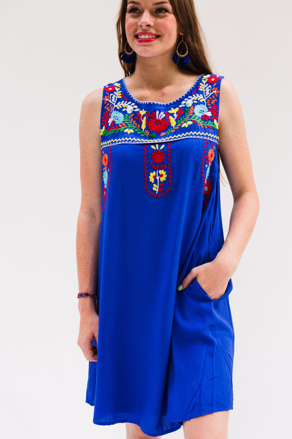 Easton Embroidered Royal Blue Dress