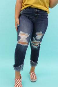 Frio Frayed Hem Distressed Jeans