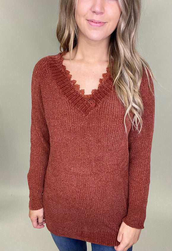 Lady Lace Chenille Sweater
