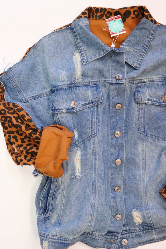 Leopard Denim 50/50 Jacket