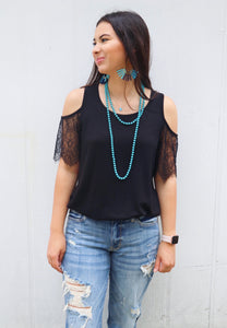 Last Call Lovin' Lace Cold Shoulder Top