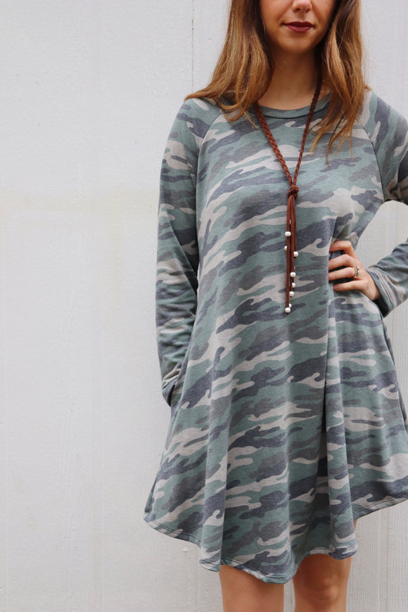 Last Call Camo Long Sleeve Dress