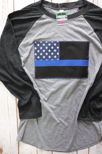 Thin Blue Line American Flag Baseball Tee