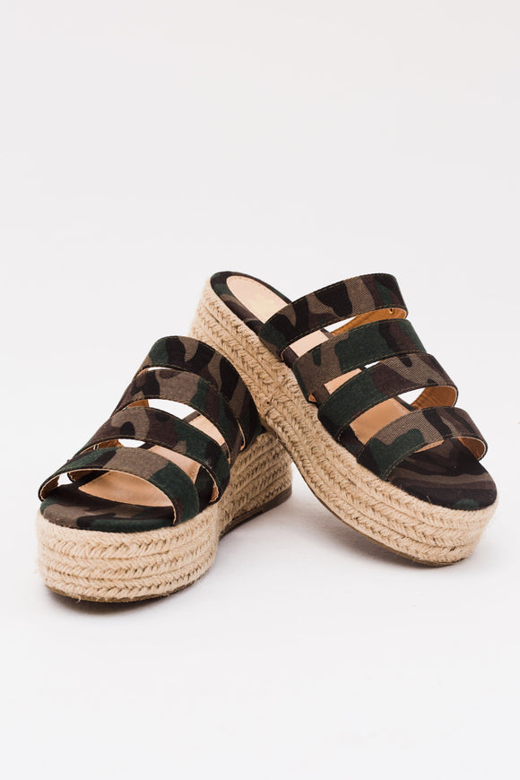 Camo Queen Espadrille Slip On Sandals