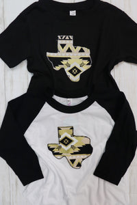 Black & Gold Aztec Kid's Raglan Tee