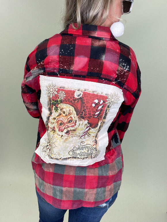Vintage Santa Buffalo Plaid Flannel