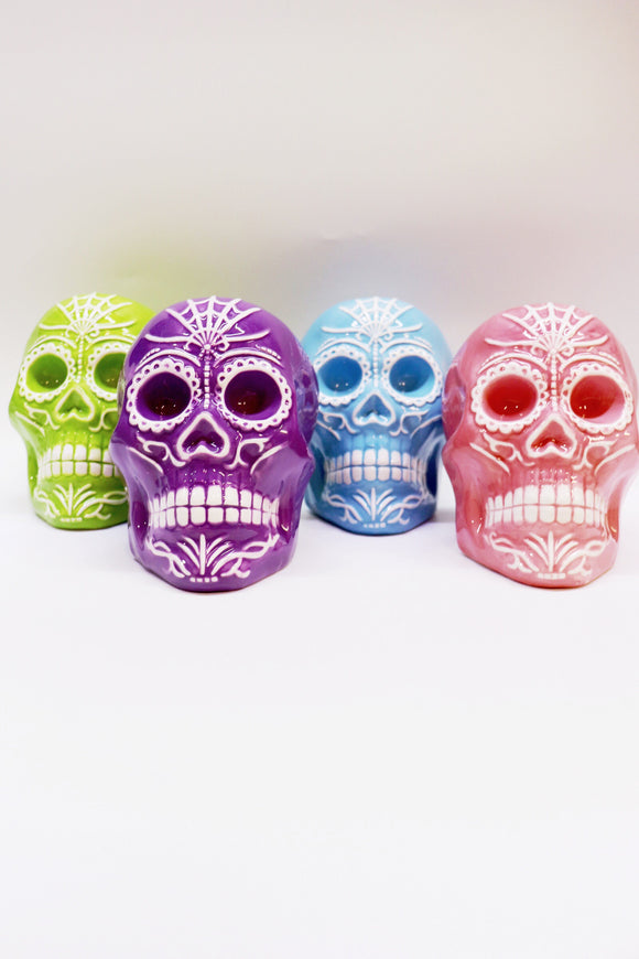 Ceramic Sugar Skull Sculpture [4 Colors]
