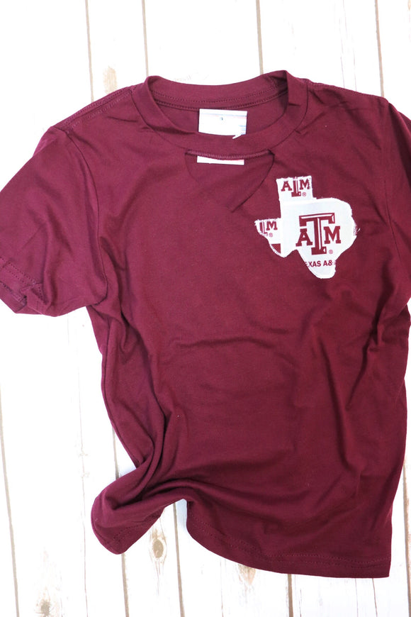 Kid's Aggie Key Hole Tee [Maroon]