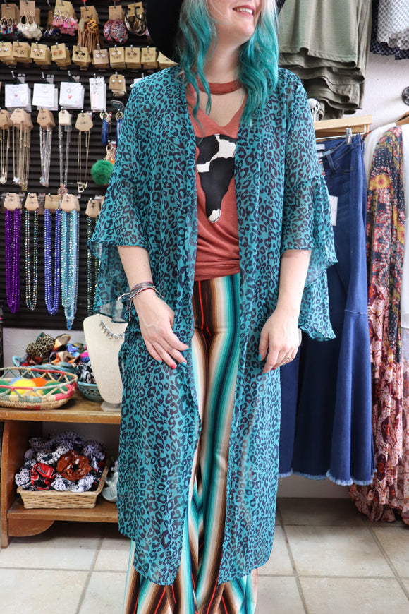 Blazing Blues Leopard Duster