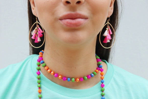 Sweet Tear Drop Tassel Earrings [Pink Mix]