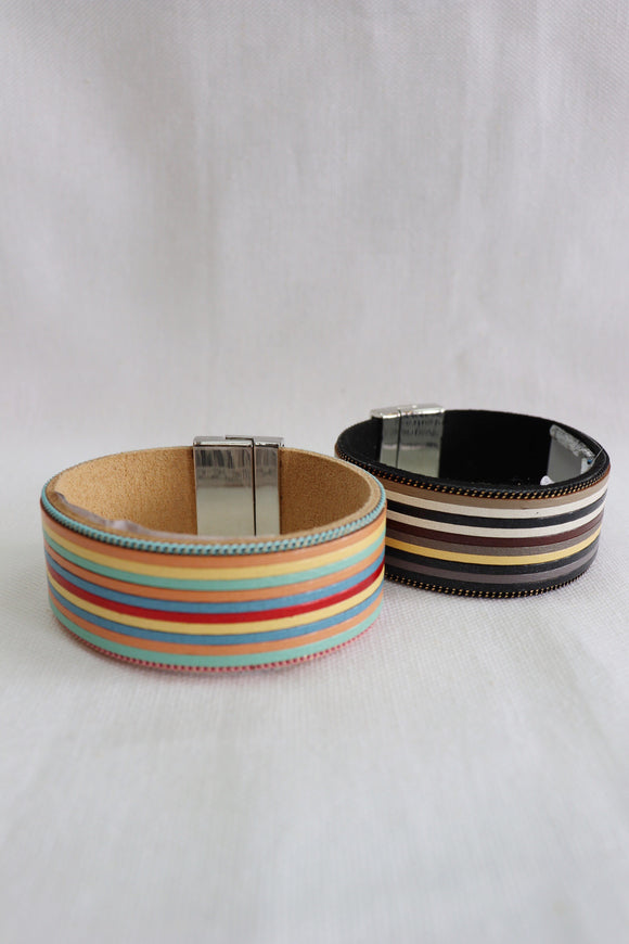 Multi Leather Strip Magnetic Bracelet [2 Colors]