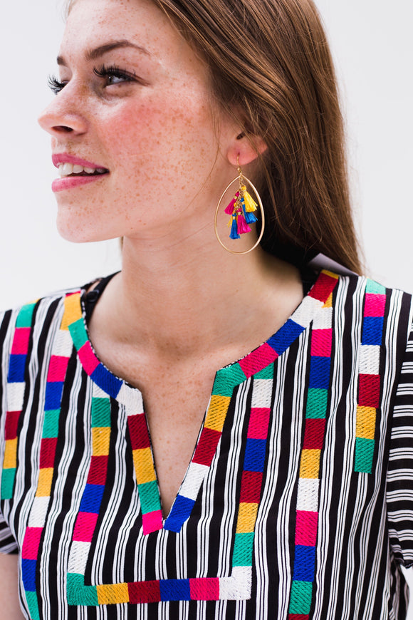 Sweet Teardrop Tassel Earrings [Pink, Yellow, Blue]