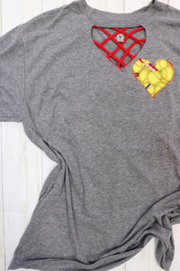 Sweet Texas Softball Heart Key Hole Tee