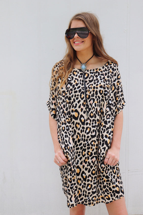 Last Call Lindale Leopard Shift Pocket Dress