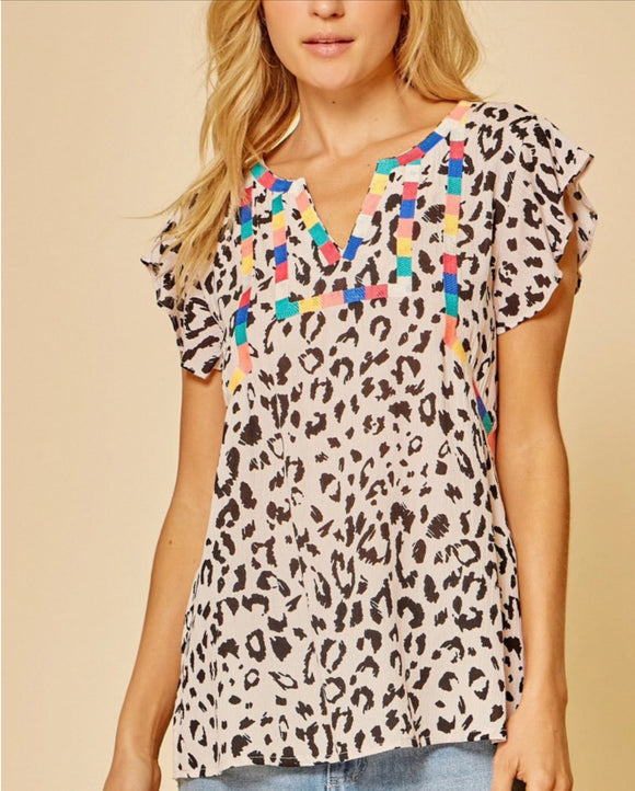 Queen Size Confetti Embroidered Leopard Top