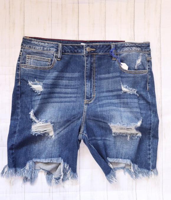 Last Call Queen Size Bogata Distressed Bermuda Shorts