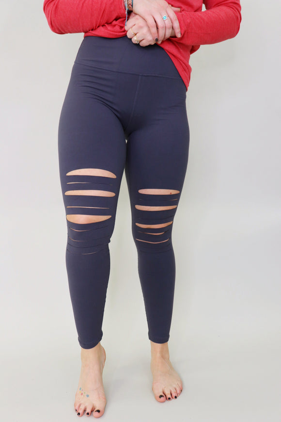 Lamesa Laser Cut Leggings [Charcoal]