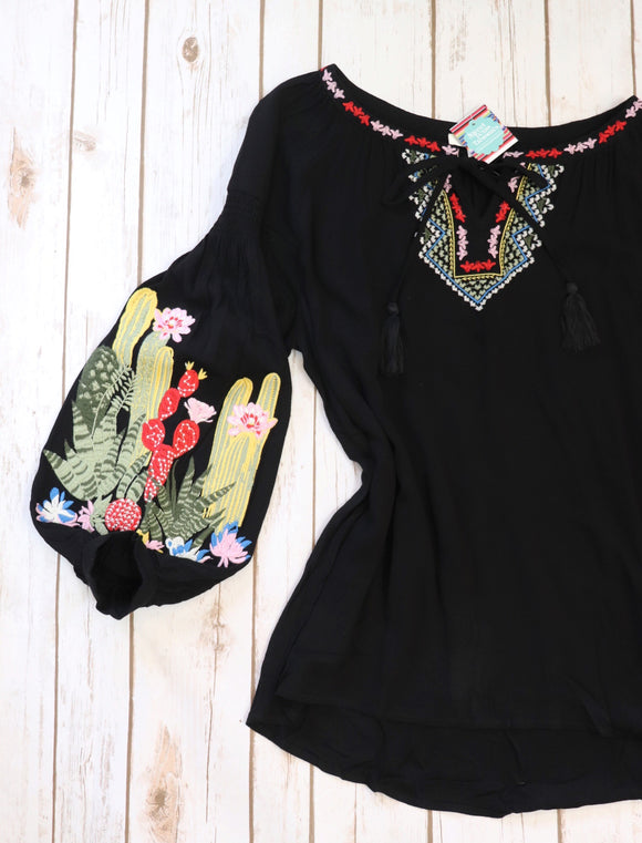Eisley Embroidered Cactus Top
