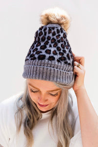 Last Call Sherpa Lined Leopard Knit Beanie [2 Colors]