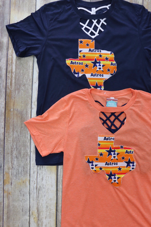 Throwback Astros Key Hole Tee