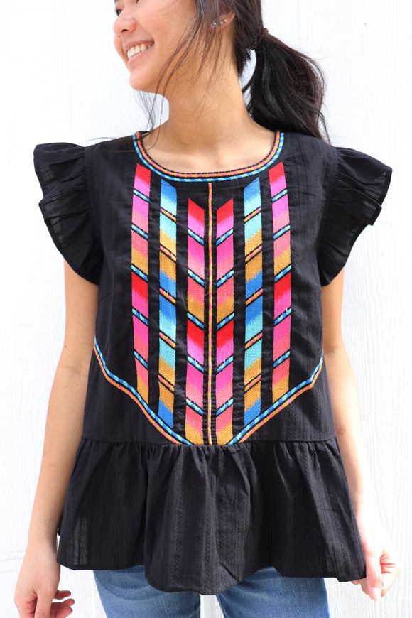 Stained Glass Embroidered Babydoll Top