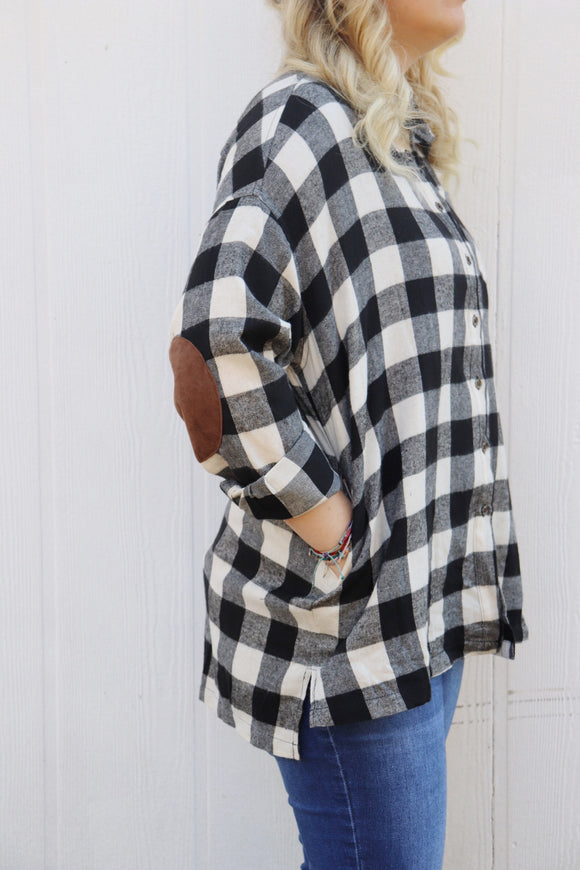 Last Call Bailey Buffalo Plaid Sueded Elbow Top [Black]