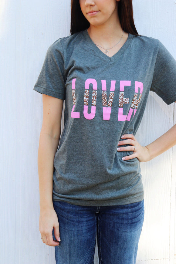 Lover Leopard Charcoal Tee