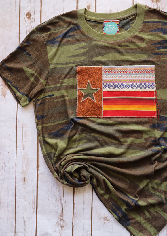 Tooled Leather Verano Texas Flag Tee [Camo]