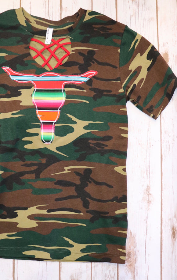 Camo Agave Red Cow Skull Key Hole Tee