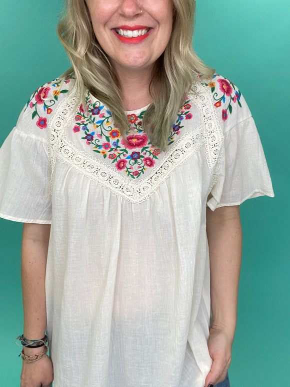 Gracie Lace Embroidered Top