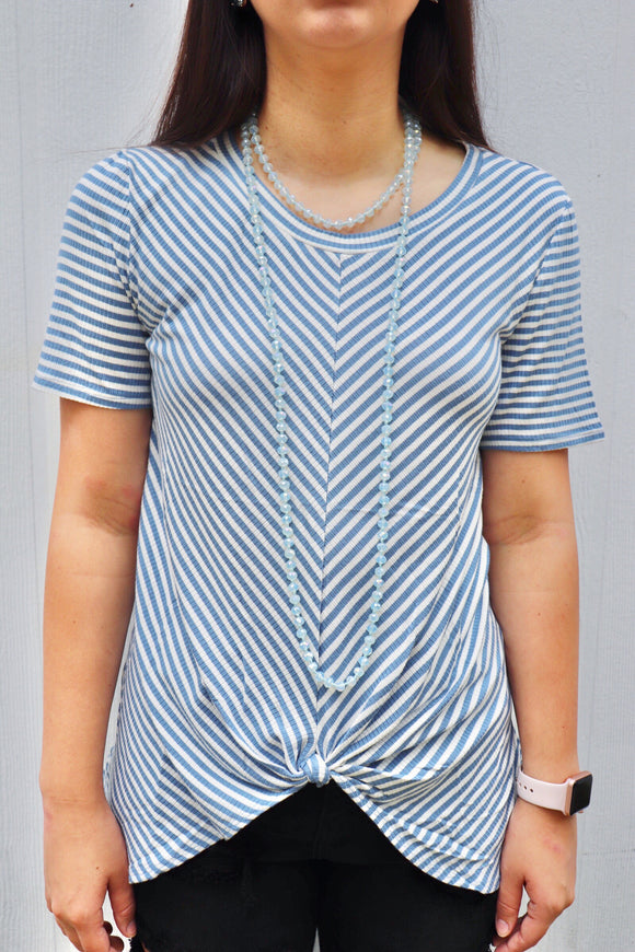 Baby Blues Striped Knot Top