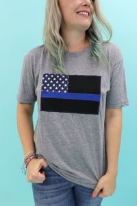 Thin Blue Line American Flag Tee