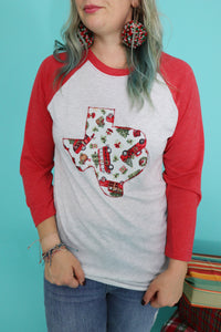 Christmas Truck Red Raglan Tee