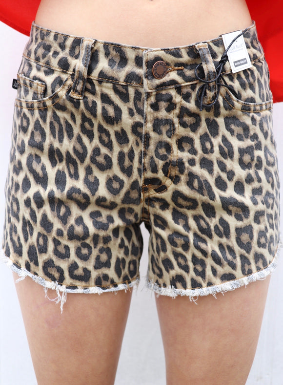 Wild Child Leopard Cut Off Shorts