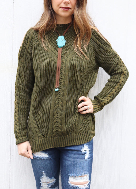 Last Call Chambers Olive Cable Knit Sweater