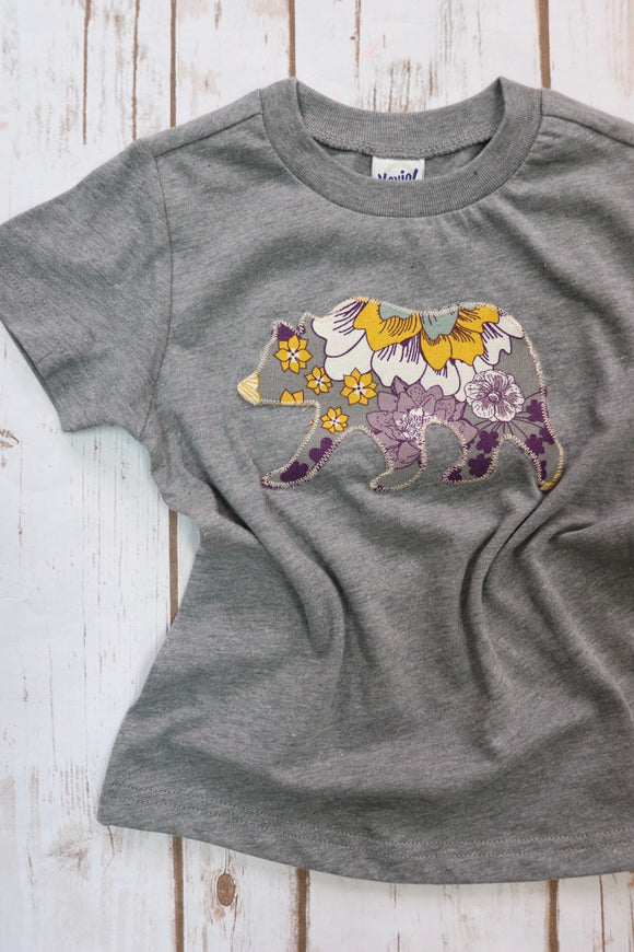 Purple & Yellow Floral Print Kid's Grey Tee
