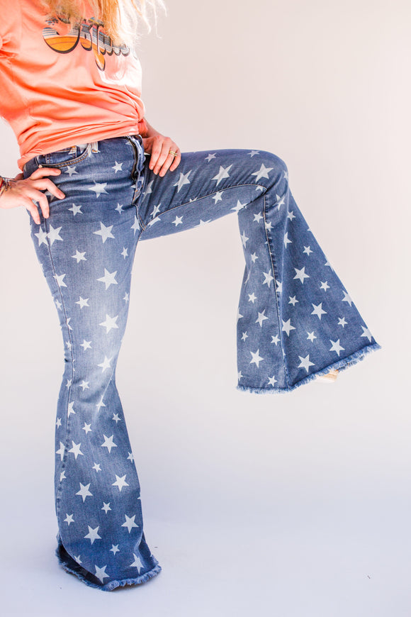 Sally Star Print Super Flare Jeans