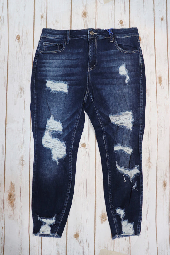 Queen Size Mid Rise Distressed Crop Skinny Jean