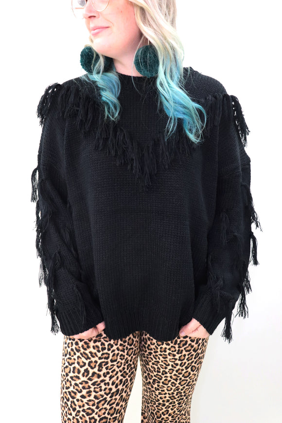 Last Call Fall Fever Fringe Sweater [Black]