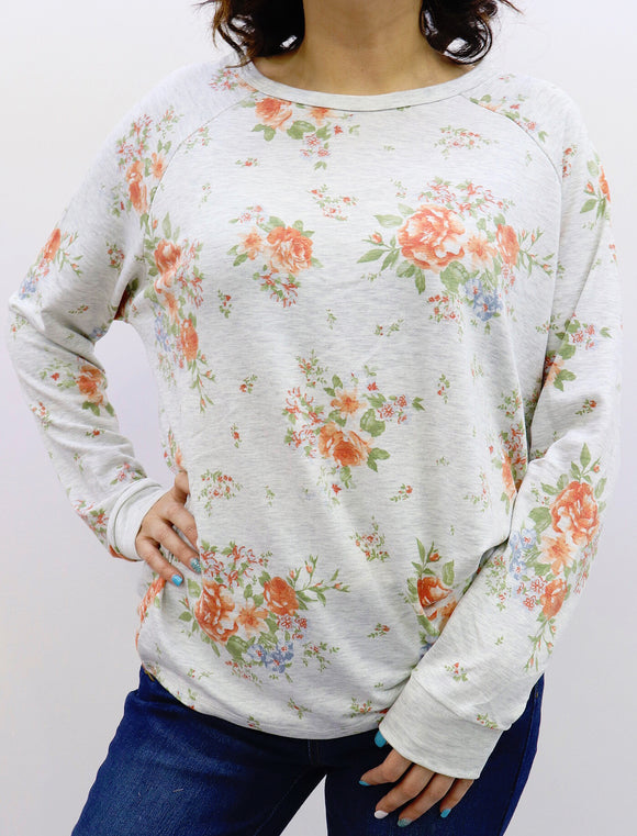 Iris Floral Long Sleeve Top