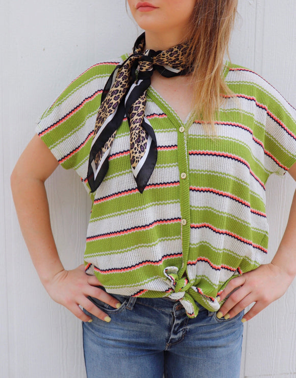 Garland Striped Tied Front Top