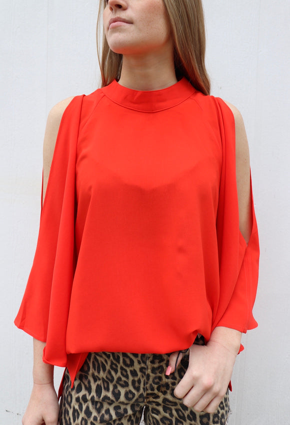 Last Call Conway Cold Shoulder Top [Red]