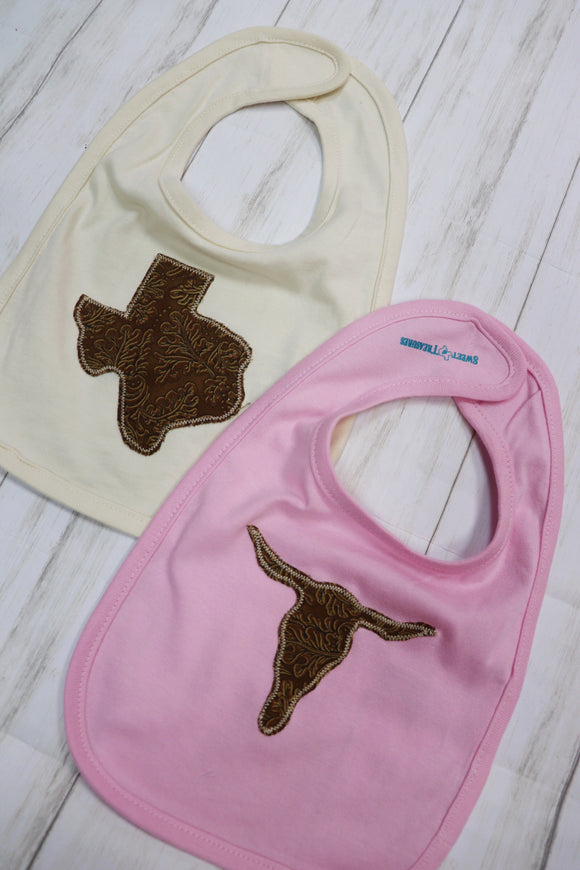 Tooled Leather Baby Bib