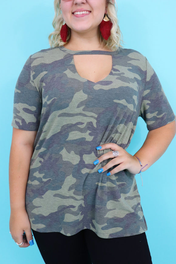 Last Call Queen Size Camo Key Hole Top