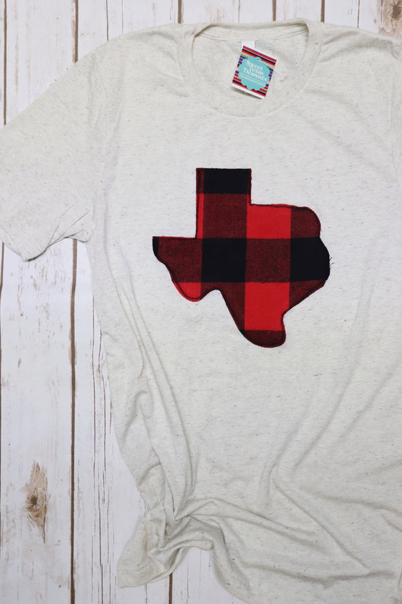 Buffalo Plaid Crew Neck Tee [Oatmeal]