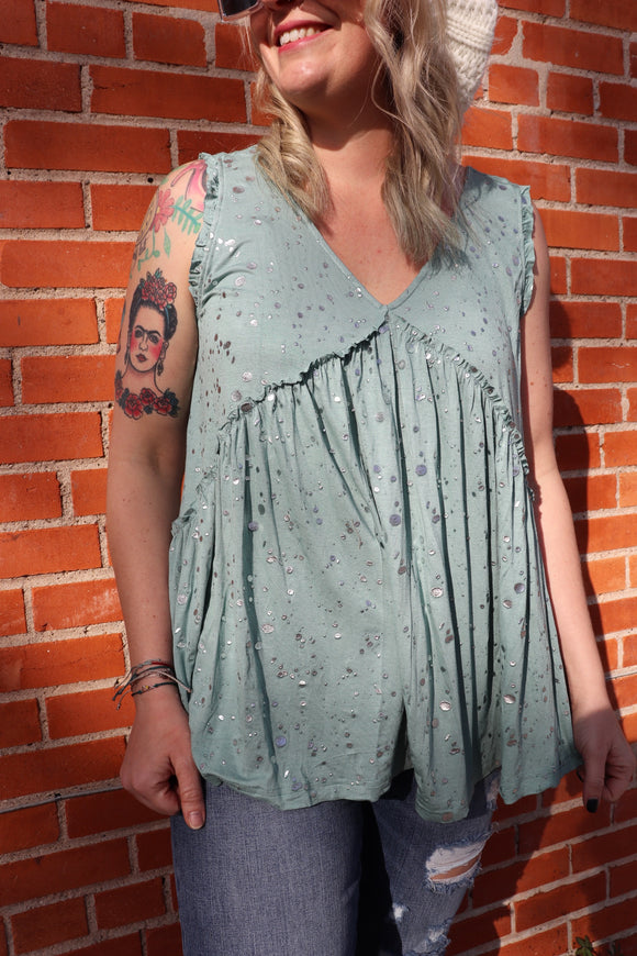 Steel Dust Splattered Tank Top