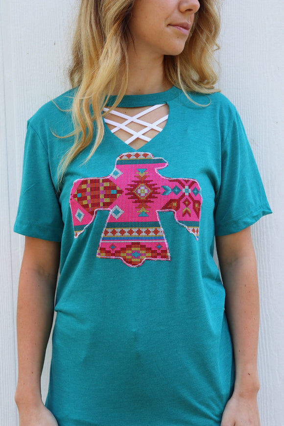 Bow & Arrow Pink Key Hole Teal Tee